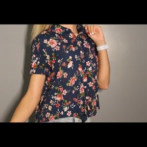 Floral collared button down crop top